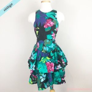 [Vintage] 80s Palm Floral Print Ruffle Dress